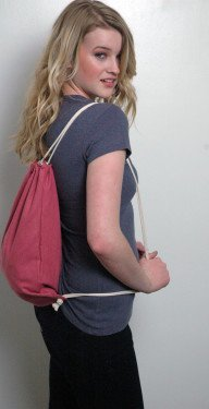 Hemp Backpack Pink Drawstring