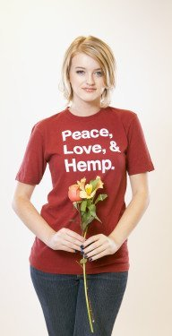Peace Love and Hemp Tee Red