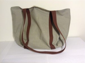 Hemp tote, green with brown handle