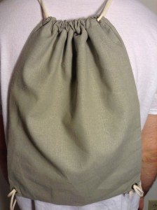 Hemp drawstring backpack, green
