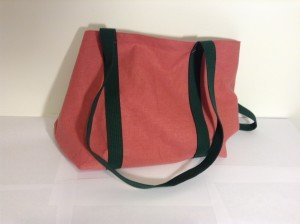 Hemp tote, pink with green webbing