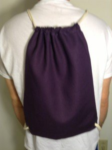 Hemp drawstring backpack, purple