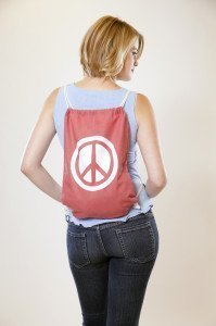 Hemp Peace Sign Bag Pink