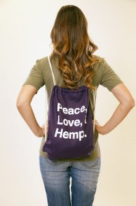 Peace Love and Hemp Bag Purple