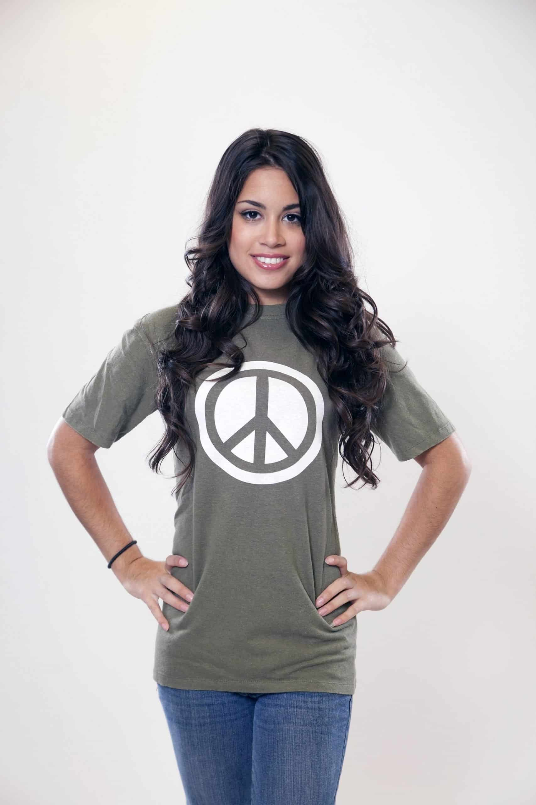 Hemp Peace Sign Tee Green