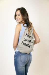 Peace Love and Hemp Bag Green